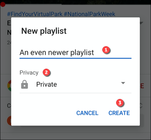 Provide a name and privacy level for your playlist, then tap Create to create it