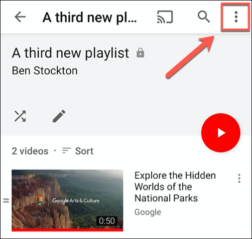 Tap the hamburger menu icon in the top-right to begin deleting a playlist in the YouTube app