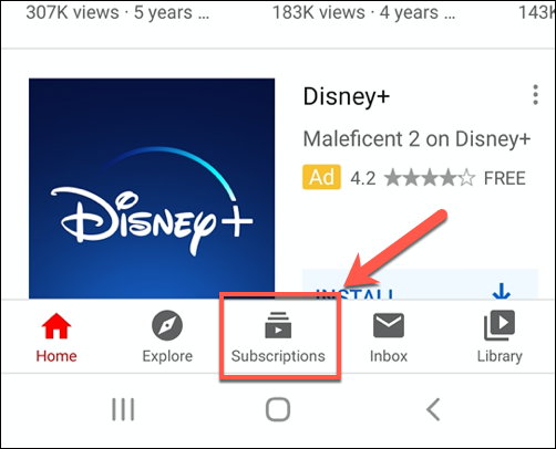 Tap Subscriptions in the YouTube app to bring up your active subscriptions list
