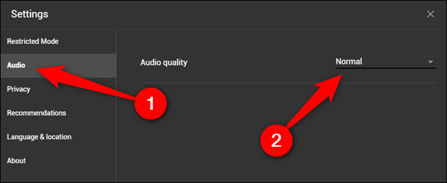 """Click the """"Audio"""" tab and then select the audio quality drop-down menu"""