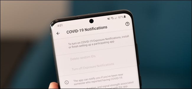 COVID-19 Notification settings on Android