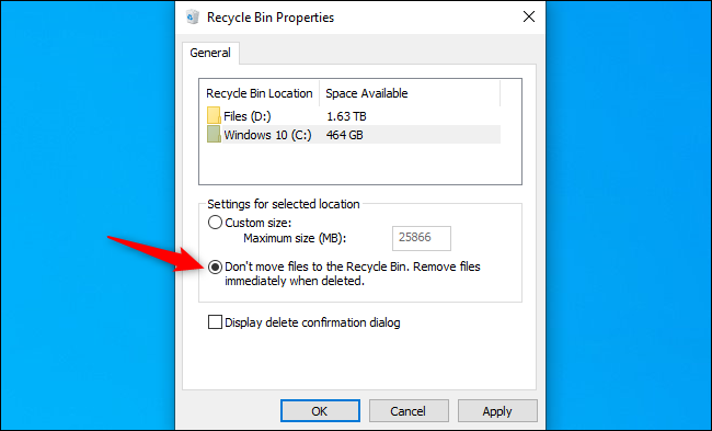 Telling Windows 10 to skip the Recycle Bin for specific drives.