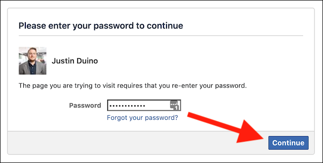 "Enter your Facebook password and then click the ""Continue"" button"