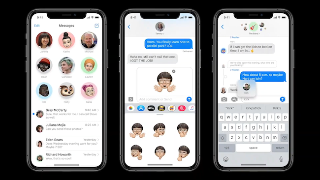 iOS 14 Messages app with pinned conversations, new group features, and inline messages