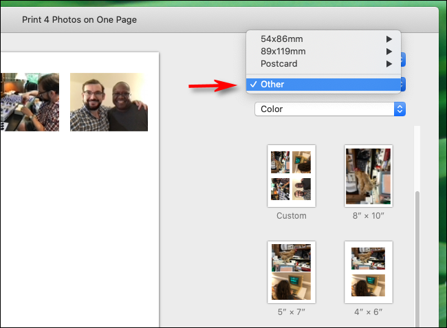 Select Other in paper sizes in Photos app on Mac