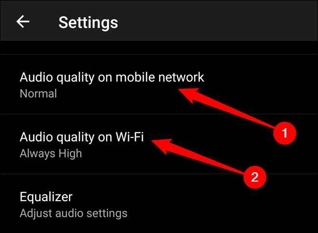 """Choose either the """"Audio Quality On Mobile Network"""" or """"Audio Quality On Wi-Fi"""" option"""