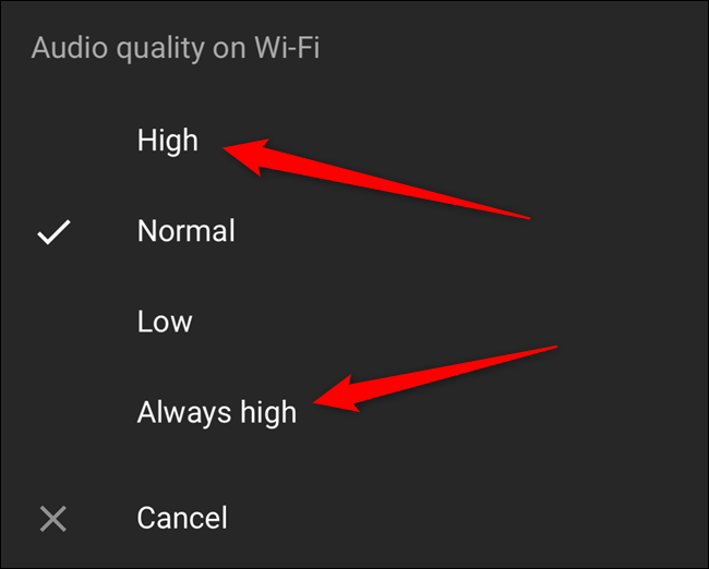 """Select the """"High"""" or """"Always High"""" option"""