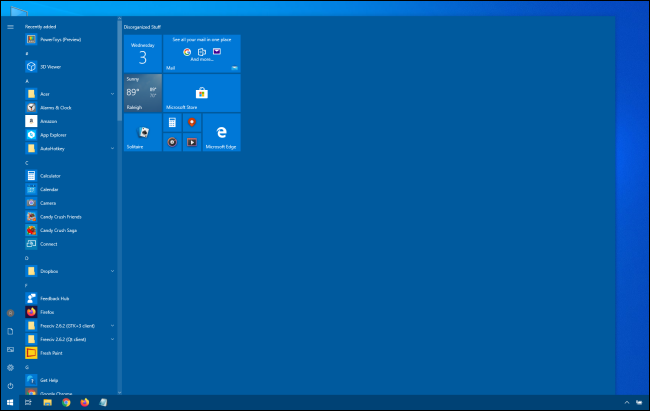 Huge Windows 10 Start menu
