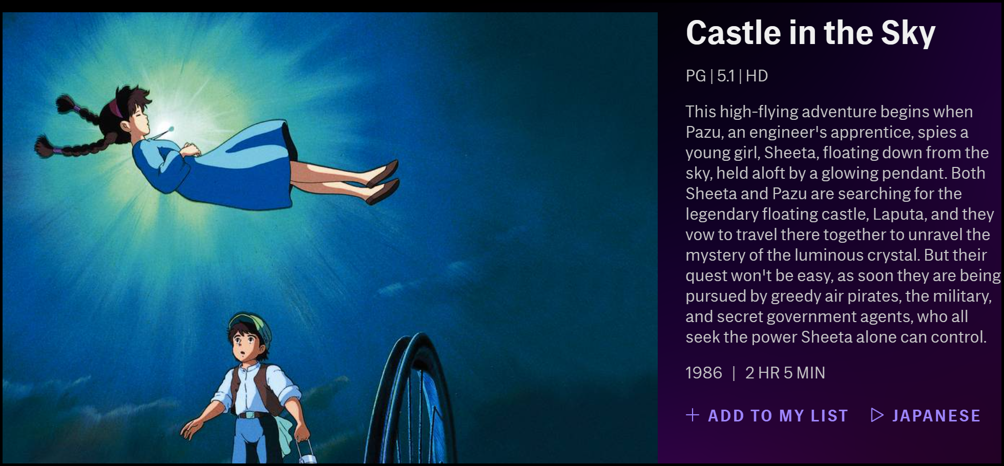 "The description of ""Castle in the Sky"" on HBO Max."