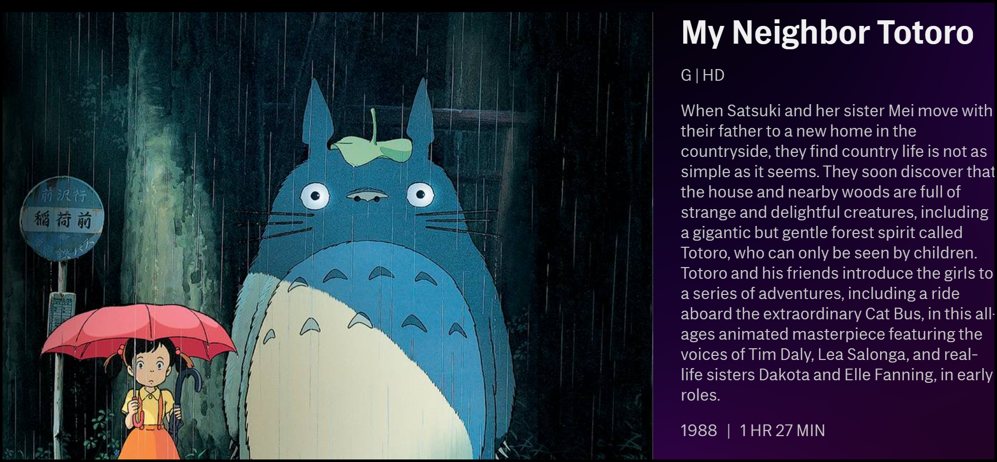 "The description of ""My Neighbor Totoro"" on HBO Max."