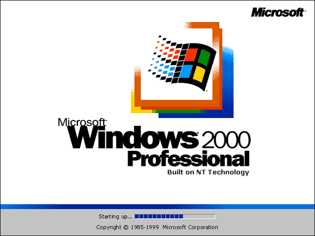 Windows 2000 Professional Splash Screen