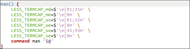 manshell function in the gedit editor.
