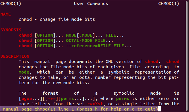 A colorized man page in less in a terminal window.
