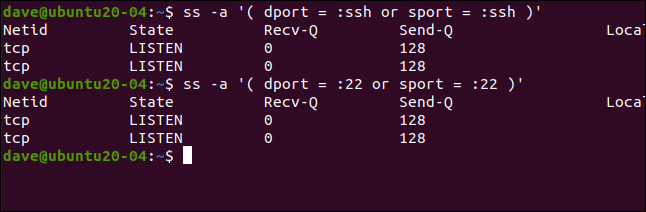 ss -a '( dport = :ssh or sport = :ssh )'in a terminal window.