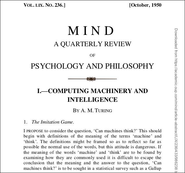 """PDF of the title page of """"Computing Machinery and Intelligence"""" by A.M. Turing."""