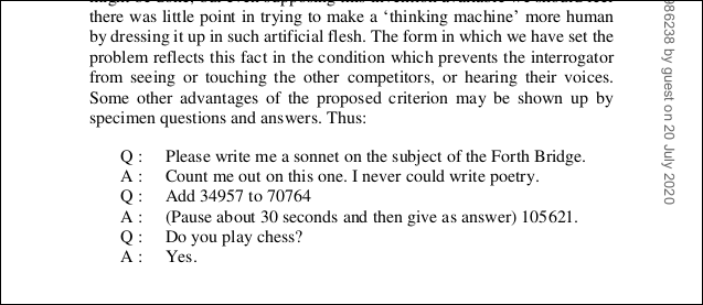 A list of questions and answers from the PDF of the Turing paper.