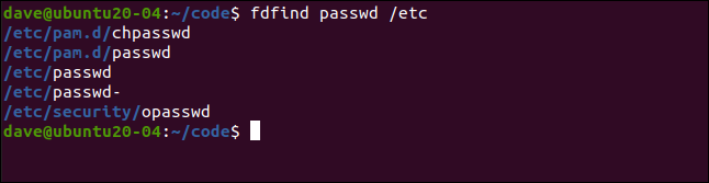 fdfind passwd /etc in a terminal window.