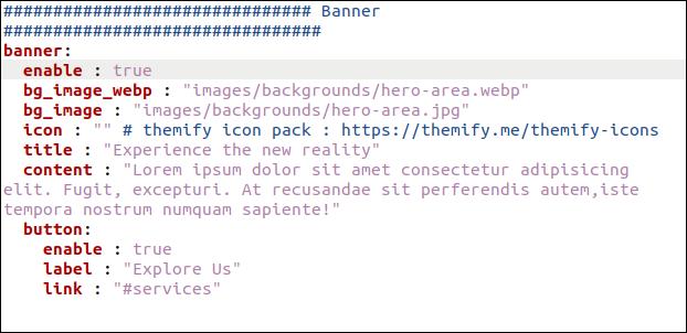 data / en / banner.yml archivo en un editor.