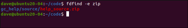 fdfinf -e zip in a terminal window.