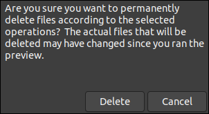 The file deletion confirmation dialog box in BleachBit.