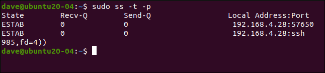sudo ss -t -p in a terminal window.