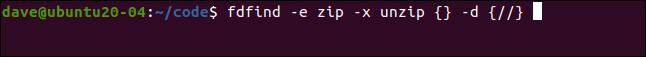 fdfind-e zip -x unzip {} -d {//} in a terminal window.