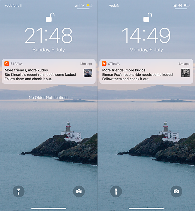 Push notifications from Strava on a cell phone.