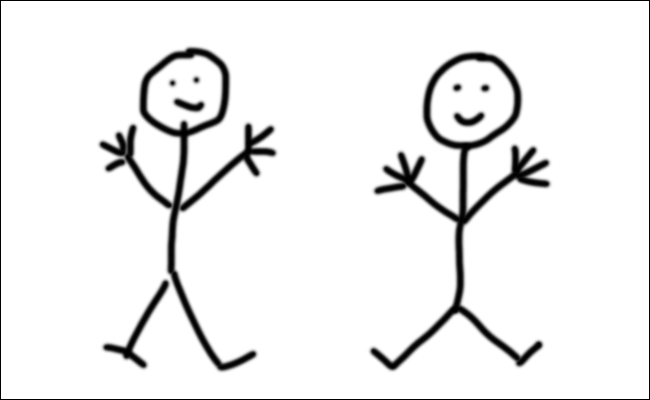 One stickman drawn with a Mac's trackpad and another drawn with a Wacom tablet.
