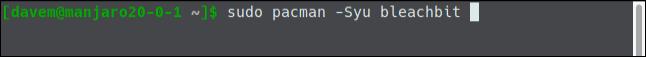 sudo pacman -Syu bleachbit in a terminal window.