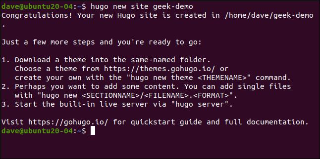 el nuevo sitio de hugo geek-demo en una ventana de terminal.