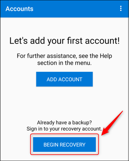 """Click """"Begin Recovery"""" in Microsoft Authenticator."""