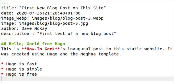 Nueva publicación de blog en gedit.