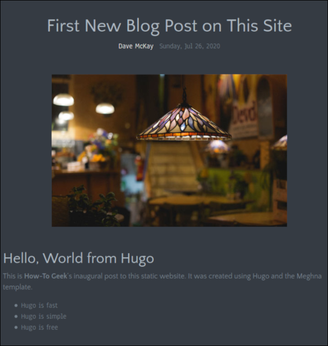 A new blog entry on the home page.