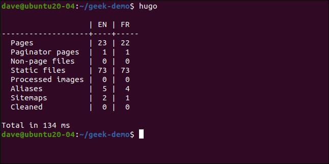 hugo in a terminal window.