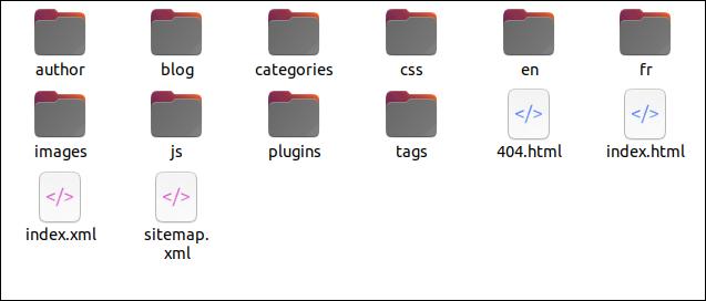 Los archivos del sitio web que deben cargarse en la plataforma de alojamiento.