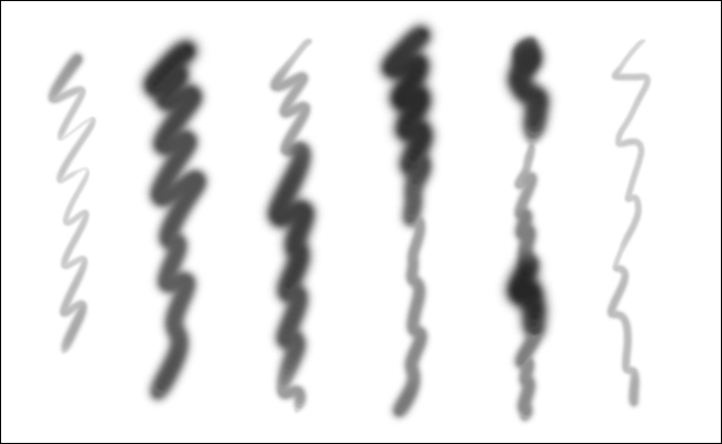 Six squiggled lines created with the same brush in Photoshop using different pressure.