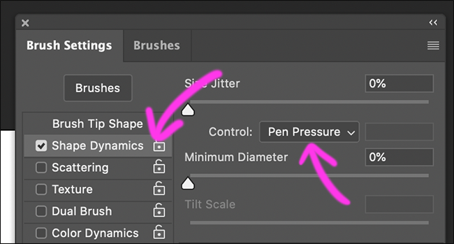 "Click ""Shape Dynamics,"" and then select ""Pen Pressure."""