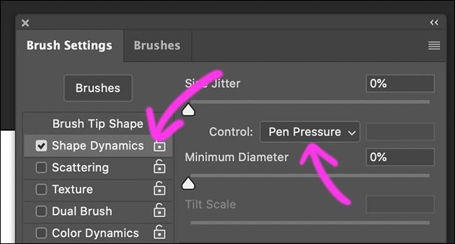 "Click ""Shape Dynamics,"" and then select ""Pen Pressure."""