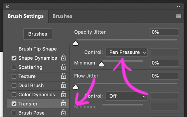 "Click ""Transfer,"" and set the ""Opacity Jitter Control"" to ""Pen Pressure."""