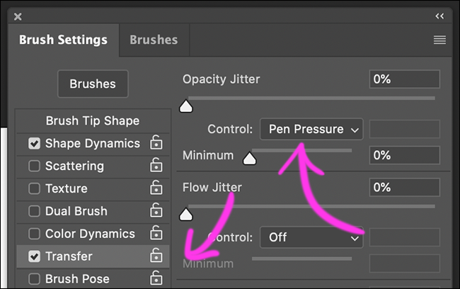 """Click """"Transfer,"""" and set the """"Opacity Jitter Control"""" to """"Pen Pressure."""""""