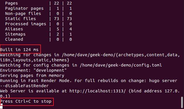 output from hugo server -D command in a terminal window.