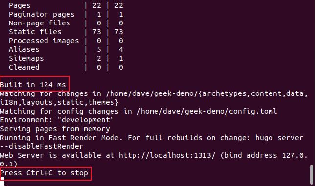 salida del comando hugo server -D en una ventana de terminal.