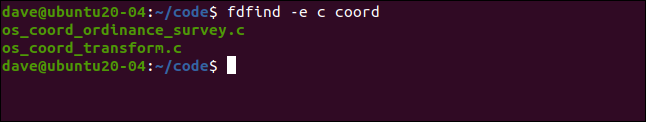fdfind -e c coord in a terminal window.