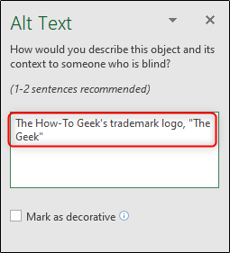 Alt text description of object in excel