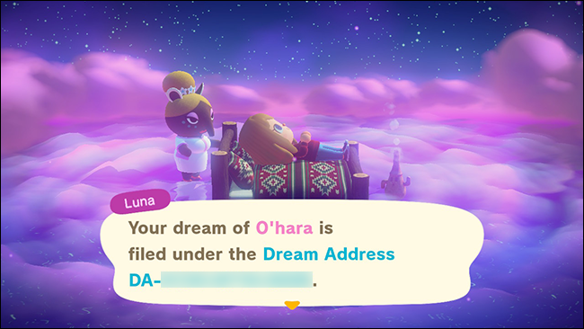 "Una dirección de sueño asignada en ""Animal Crossing: New Horizons""."