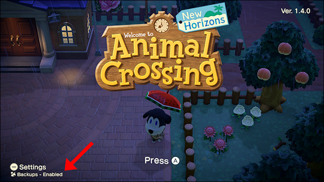Animal Crossing New Horizons backup enabled