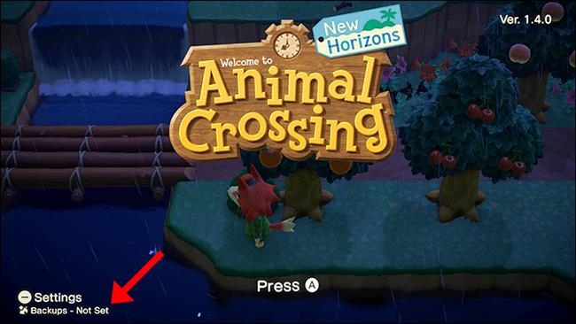 Animal Crossing New Horizons backup not set