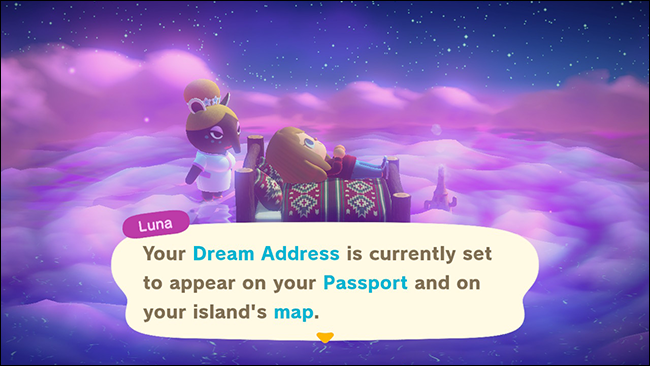 "The default dream address settings in ""Animal Crossing: New Horizons."""