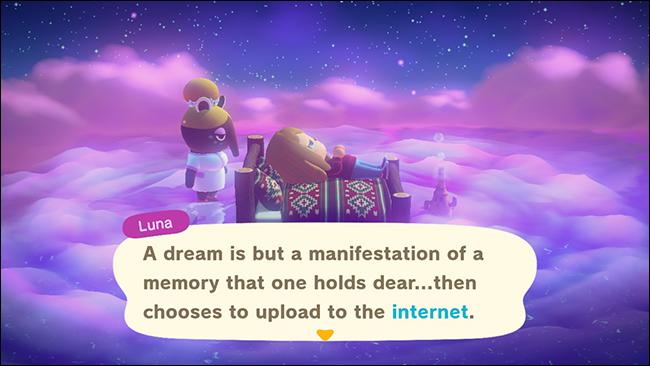 """Luna aparece junto a un personaje dormido en """"Animal Crossing: New Horizons""""."""