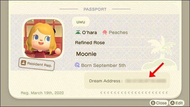 A passport showing a dream address.